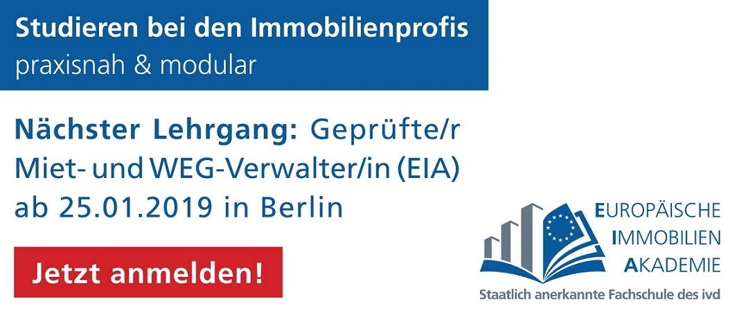 Jetzt buchen und fortbilden: Verwalterlehrgang EIA in Berlin 2019