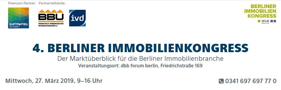 4. Berliner Immobilienkongress am 27. März 2019 im dbb forum