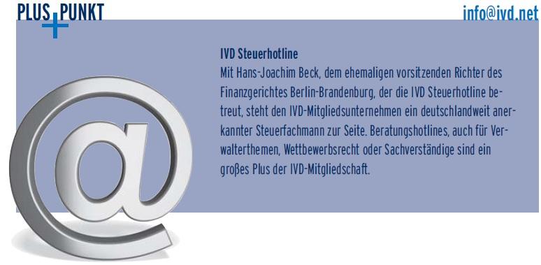 IVD PlusPunkt: Die IVD Steuerhotline